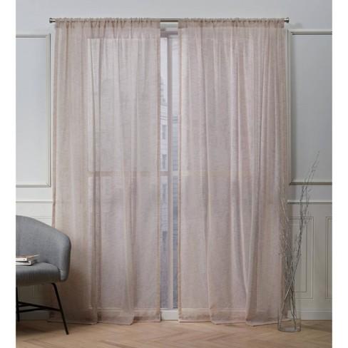 Belfry Rod Pocket Sheer Window Curtain Panels - Exclusive Home - image 1 of 4