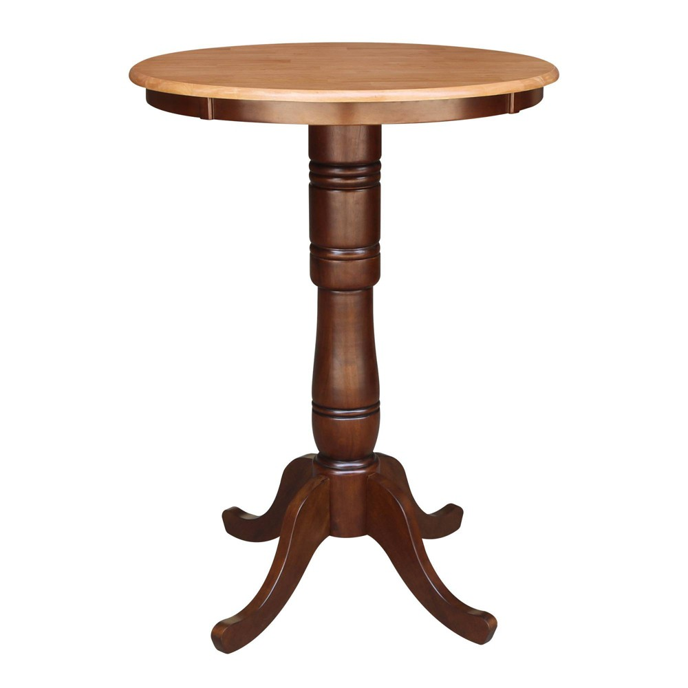 "Image of ""30"""" Round Top Pedestal Bar Height Table Cinnamon/Brown - International Concepts"""