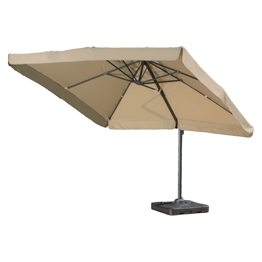 Yuma 10' Square Cantilever Canopy Sunshade with Base - Taupe (Brown) - Christopher Knight Home