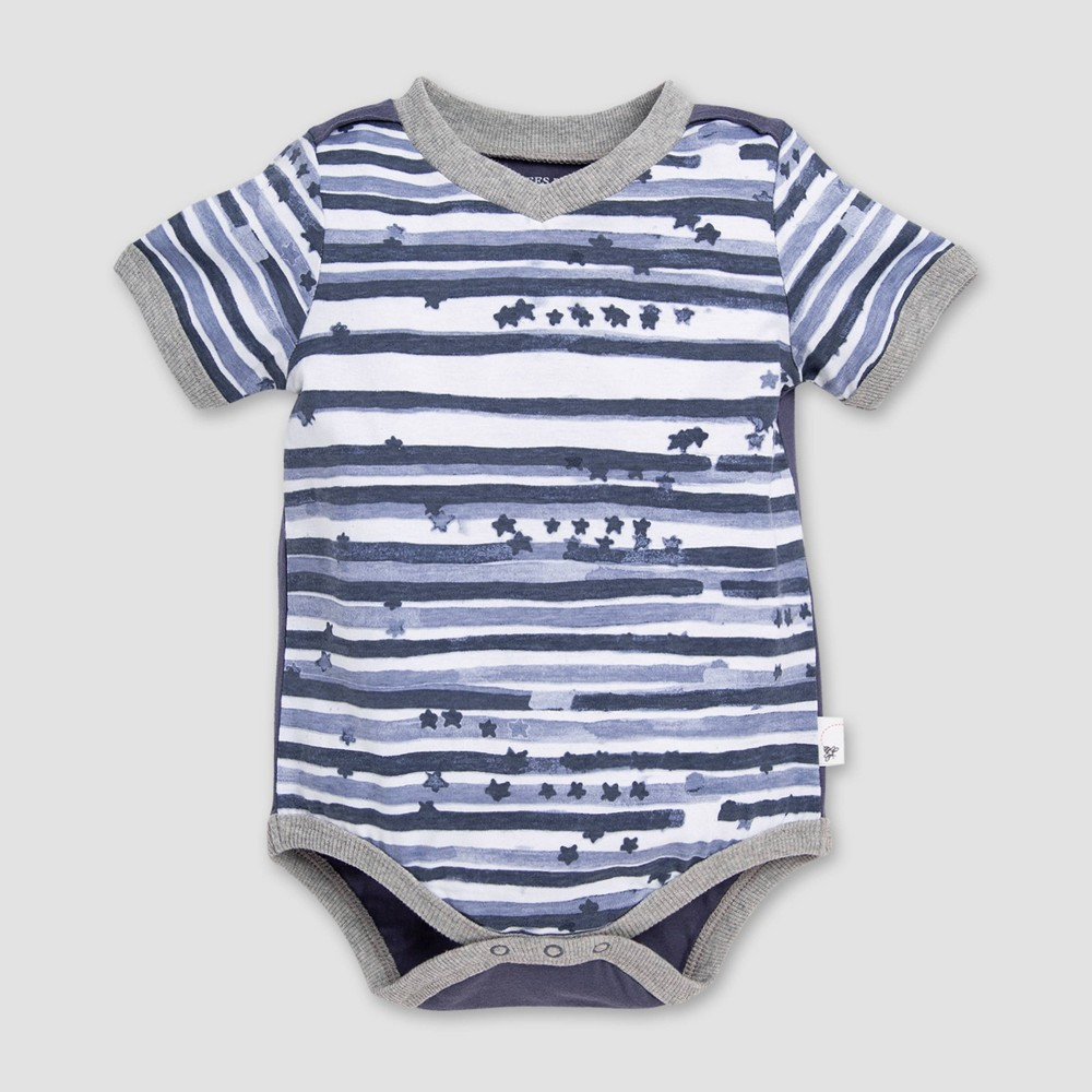 Burt's Bees Baby Baby Boys' Starry Striped Bodysuit - Blue/White 12M