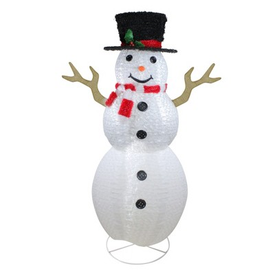 Northlight 6' Pre-Lit Chenille Swirl Large Snowman with Top Hat Christmas Outdoor Decoration