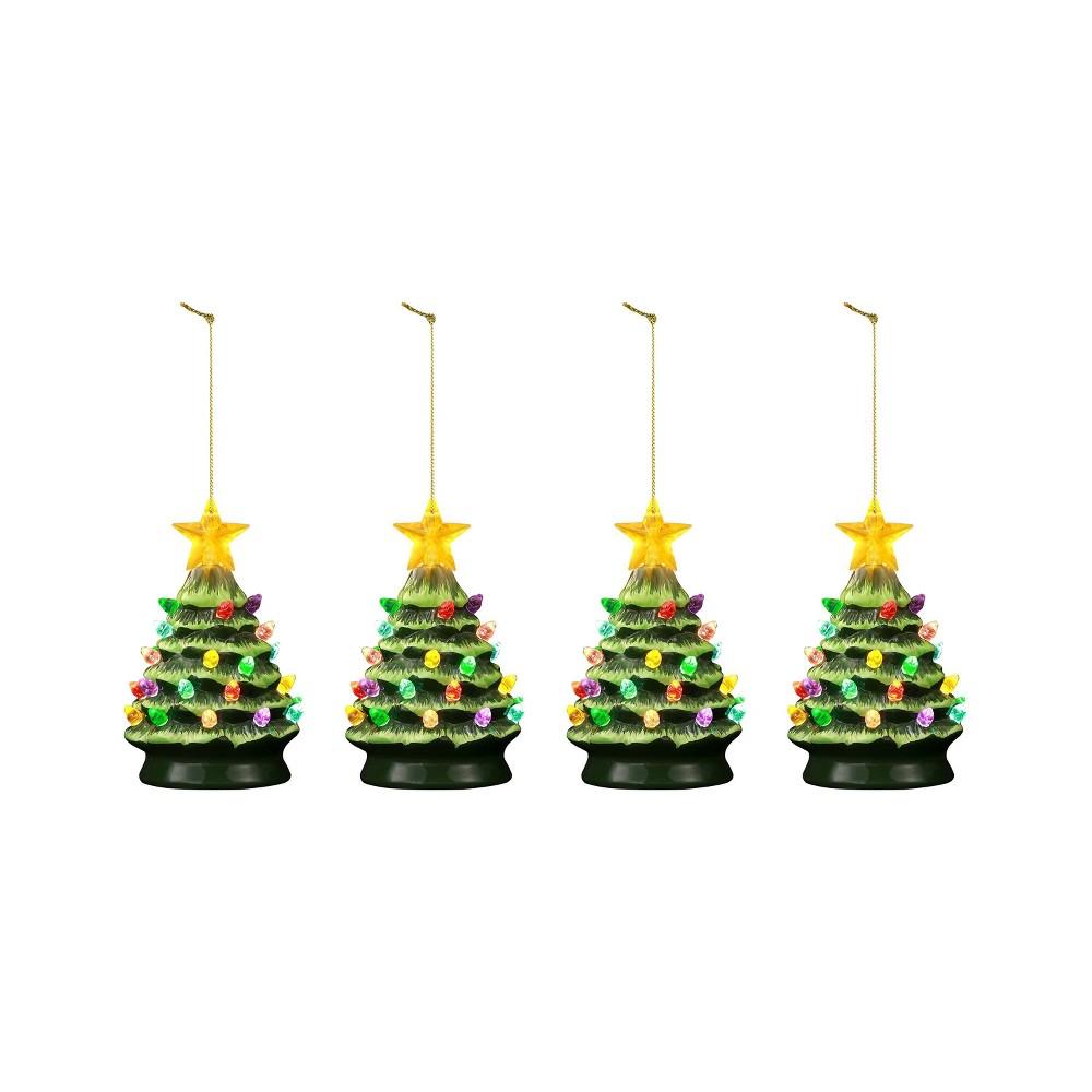 "Image of ""4pc/5.5"""" Nostalgic Trees Decorative Figurine Green - Mr. Christmas"""
