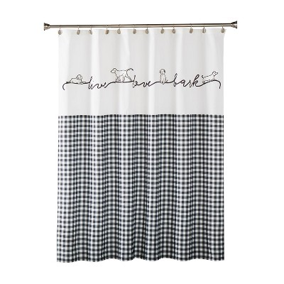 Farmhouse Dogs Fabric Shower Curtain Black - SKL Home