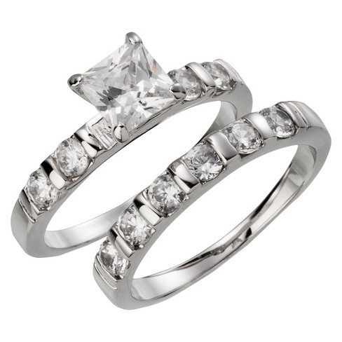 Silver Plated Square and Round Cut Cubic Zirconia Wedding Ring Set - Size 7 - image 1 of 1