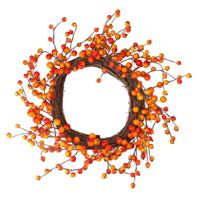 Northlight Orange, Red Berry and Twig Artificial Thanksgiving Wreath - 14-Inch, Unlit