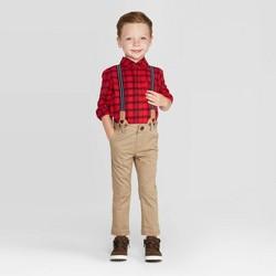 Toddler Boys' 3pc Stripe Shirt & Suspender Set - Cat & Jack™ Red/Brown