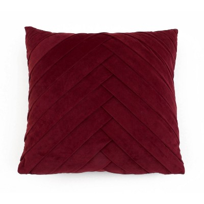 James Pleated Velvet Pillow Cabernet - Décor Therapy