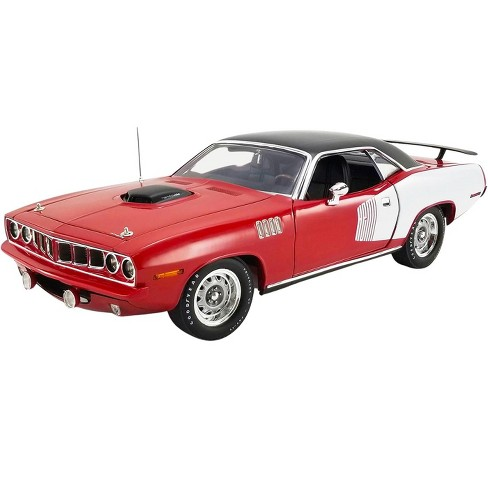 """1971 Plymouth Hemi Barracuda Red and White with Black Top """"1 of 1"""" Limited Edition to 1,230 pcs 1/18 Diecast Model Car by ACME - image 1 of 4"""