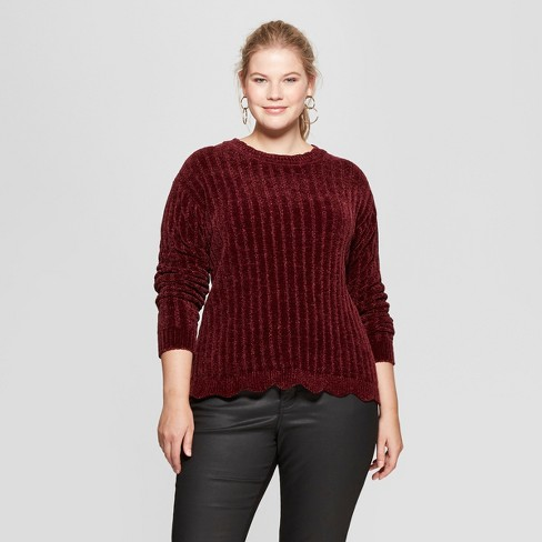 Womens Plus Size Chenille Pullover Ava Viv Target