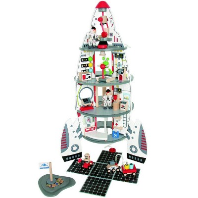 Hape Multi Level 4 Tier 37 Piece Wooden Discovery Spaceship Center Kids Activity Play Set with Accessories
