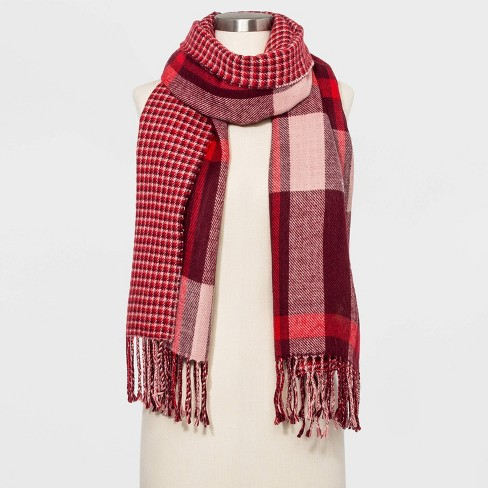 Women's Striped Woven Reversible Oblong Scarf - A New Day™ Burgundy One Size - image 1 of 2