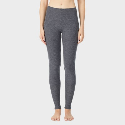 Warm Essentials by Cuddl Duds Women's Soft Ribbed Thermal Leggings - Charcoal Heather