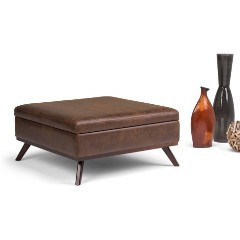 Ottoman Coffee Table Leather.Ethan Square Coffee Table Storage Ottoman Distressed Chestnut Brown Faux Air Leather Wyndenhall