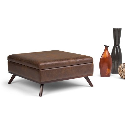 Superbe Ethan Square Coffee Table Storage Ottoman Distressed Chestnut Brown Faux  Air Leather   Wyndenhall