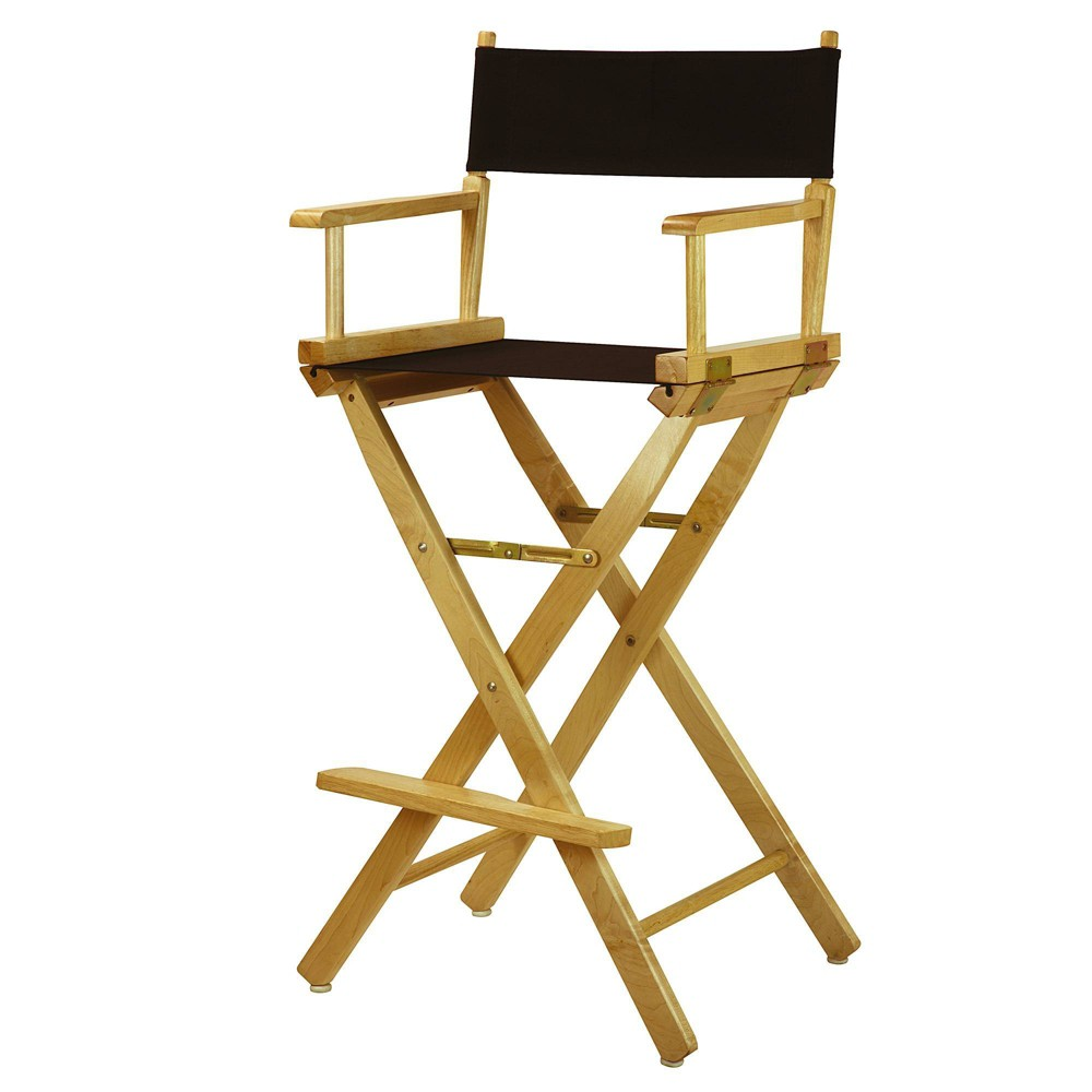 Bar Height Director S Chair Natural Frame Black Canvas