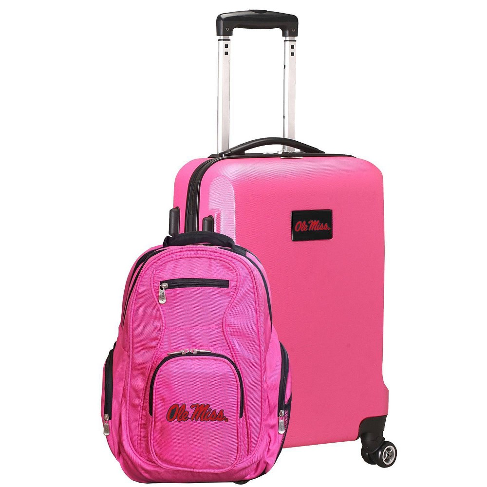 NCAA Ole Miss Rebels Deluxe 2pc Backpack & Carry-On Luggage Set - Pink