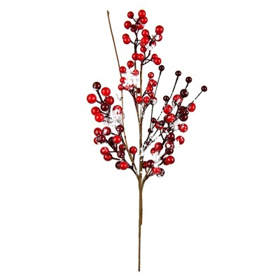 """Vickerman 18"""" Artificial Red Snow Berry Pick, Set of 3"""