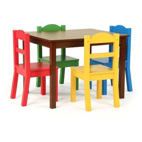 4a258e5f7a52 Tot Tutors Set Of 4 Chairs With Discover Kids Wood Table Dark Walnut ...