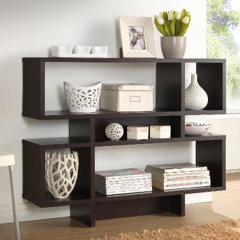 Cassidy 3525 4 Level Modern Bookshelf Dark Brown