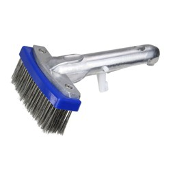 """Northlight Stainless Steel Algae Swimming Pool Brush with Aluminum Handle Connector 5.5"""" - Blue/Gray"""