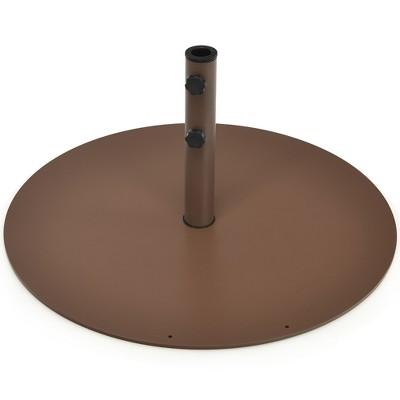 Costway 59LBS Patio Umbrella Base Round Umbrella Stand for Backyard Brown
