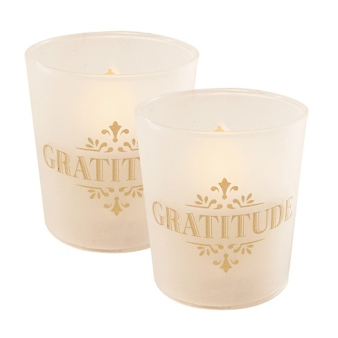 2ct Battery Operated Wax LED Candles Filled in Glass Holders with Timer Gold Gratitude - Lumabase - image 1 of 3