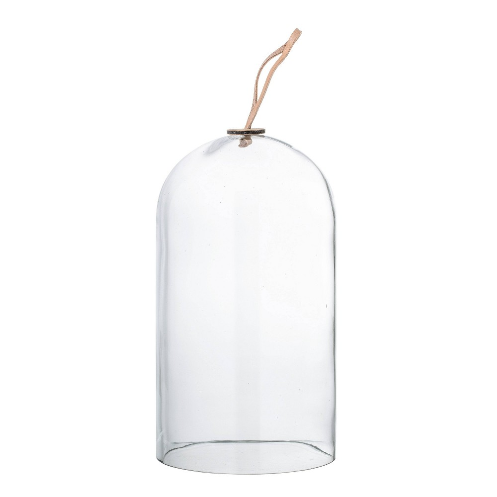 "Image of ""11.4"""" x 7"""" Glass Cloche with Leather Tie Clear - 3R Studios"""