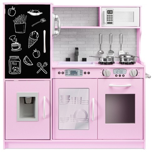 Best Choice Products Pretend Play Kitchen Wooden Toy Set for Kids with Telephone, Utensils, Oven, Microwave - image 1 of 4