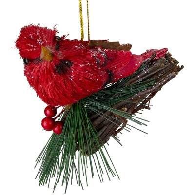 """Kurt S. Adler 4"""" Red Cardinal with Pine and Berry Christmas Ornament"""