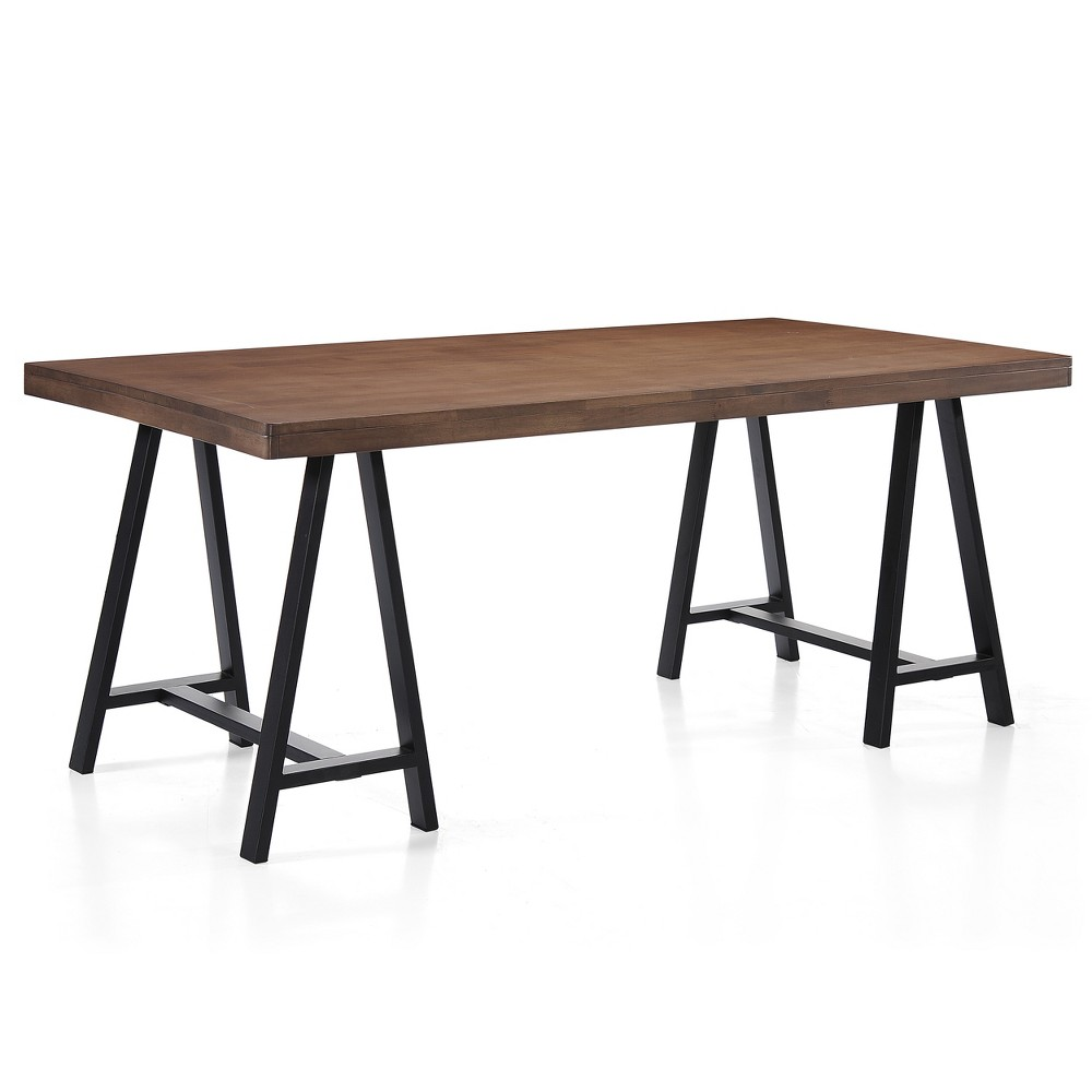 70 Marchello Farmhouse Rectangle Dining Table Walnut (Brown) - Christopher Knight Home
