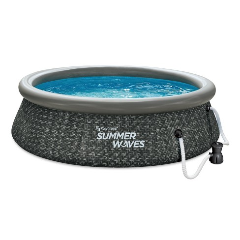 Summer Waves P1a01030a 10ft X 2 5ft Quick Set Ring Above Ground Inflatable Outdoor Swimming Pool With Gfci Rx300 Filter Pump Dark Wicker Target