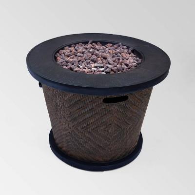 Meyer Outdoor Circular Lightweight Concrete Fire Pit - Brown - Christopher Knight Home