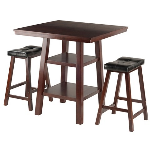 3 Piece Orlando Set High Table 2 Shelves with Counter Stools Cushion Seat Wood/Walnut/Black - Winsome - image 1 of 4