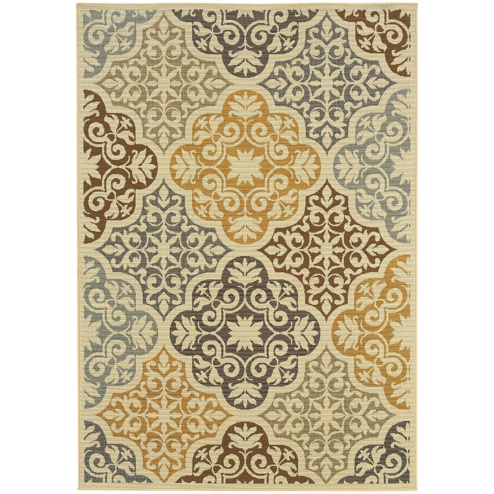 Bombay Floral Tile Patio Rug Ivory/Gray