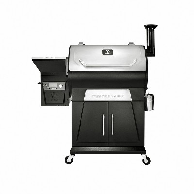 Z GRILLS ZPG-700D3 8 N 1 Wood Pellet Portable Stainless Steel Grill Smoker for Outdoor BBQ Cooking w/ Digital Temperature Control & Grill Cover
