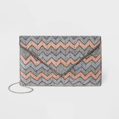 Estee & Lilly Zig Zag Beaded Envelope Clutch