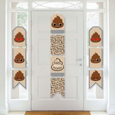 Big Dot of Happiness Party 'Til You're Pooped  - Hanging Vertical Paper Door Banners - Poop Emoji Party Wall Decoration Kit - Indoor Door Decor