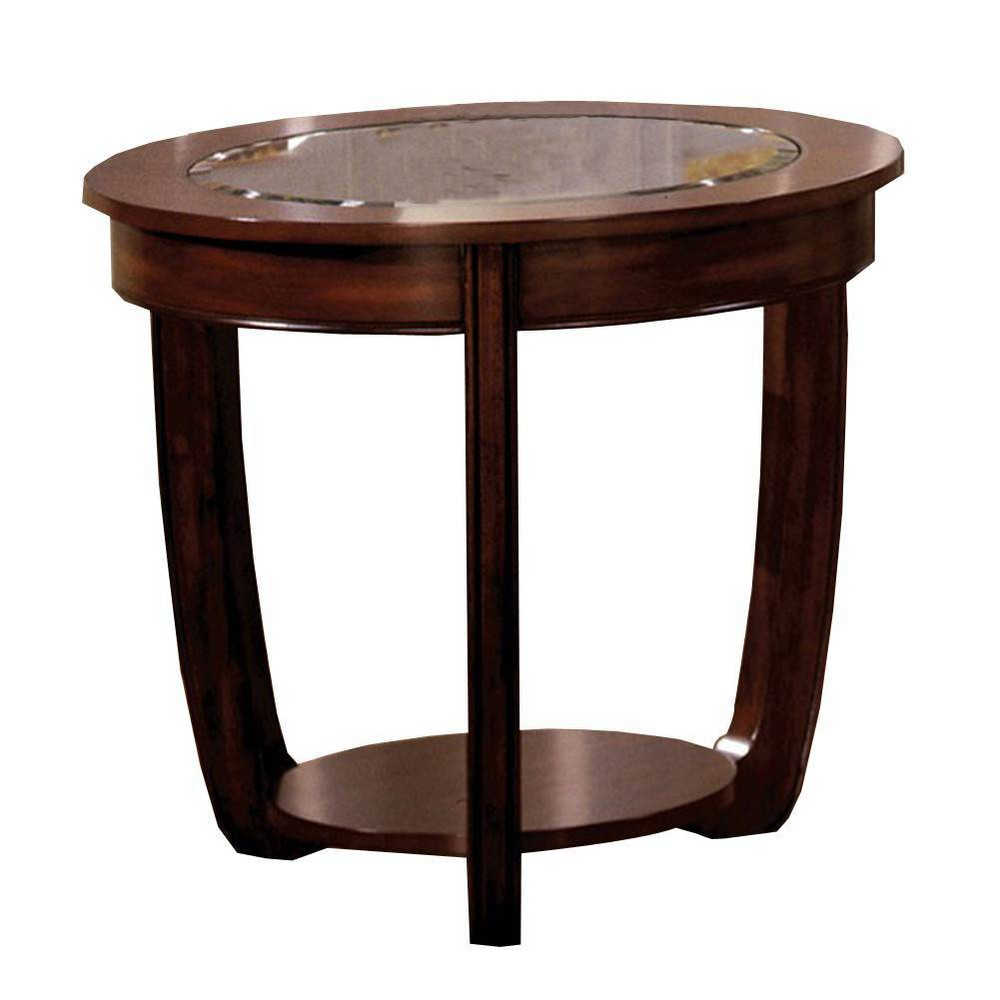 Crystal Falls Transitional End Table Coffee (Brown) - Benzara