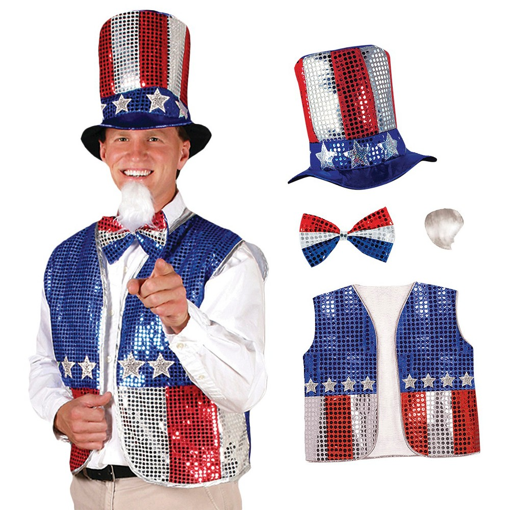 Image of Halloween Adult Uncle Sam Costume Accessory Set, Men's, Red