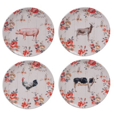 "10.8"" 4pk Earthenware Farmhouse Dinner Plates White - Certified International"