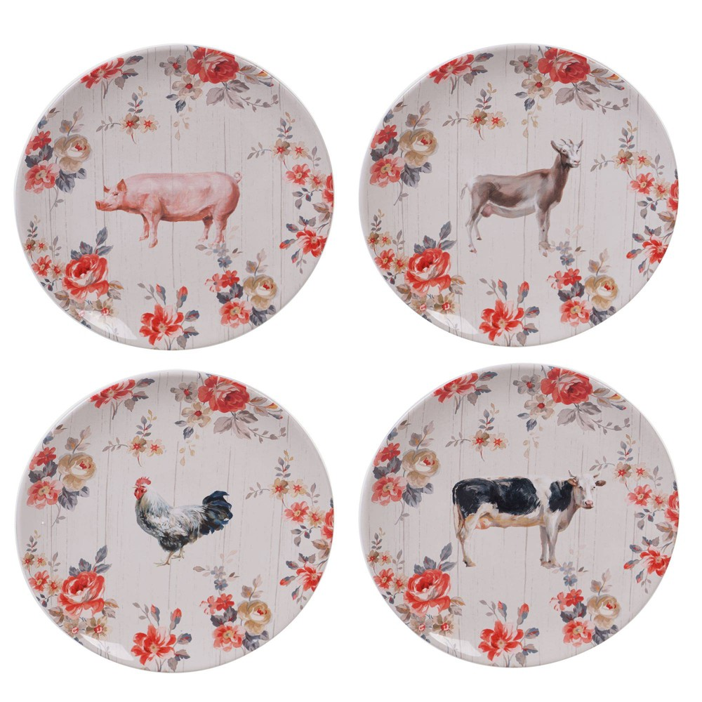 "Image of ""10.8"""" 4pk Earthenware Farmhouse Dinner Plates White - Certified International, White Red"""