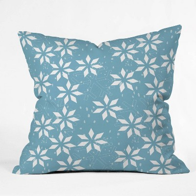 """16""""x16"""" Mirimo Holly Holidays Square Throw Pillow Blue - Deny Designs"""