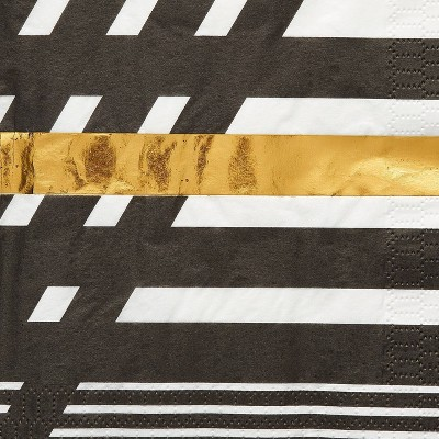 40ct Large Lunch Napkins Black and Gold Rush - Papyrus