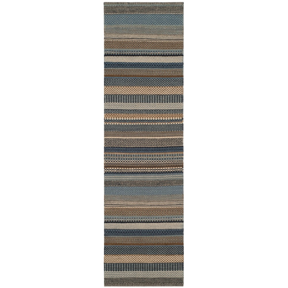 22X8 Stripe Woven Runner Blue - Safavieh Discounts