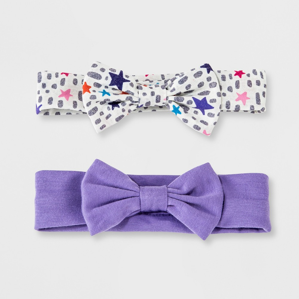 Toddler Girls' 2pc Clips and Barrettes Set - Cat & Jack Purple/White One Size, Silver