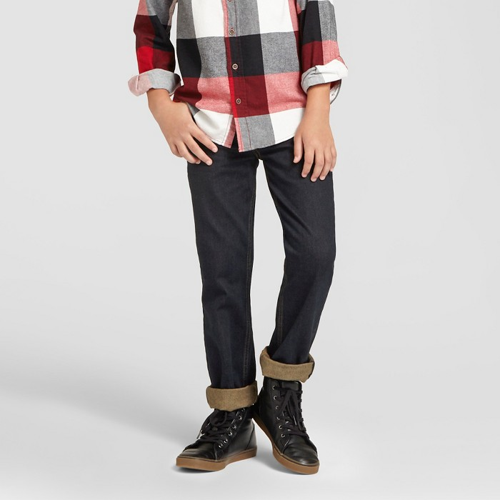 Boys' Straight Fit Jeans  - Cat & Jack™ Dark Rinse - image 1 of 5