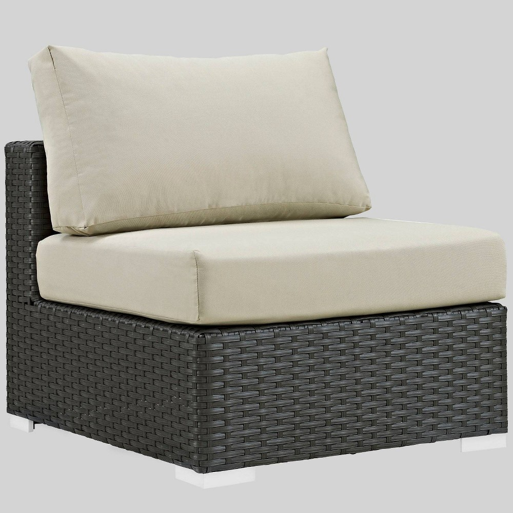 Sojourn Outdoor Patio Armless Chair with Sunbrella Fabric - Beige - Modway