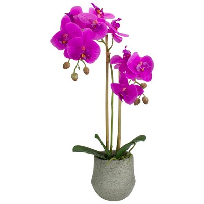 """Northlight 14"""" Purple Artificial Orchid Plant with a Gray Stone Pot"""