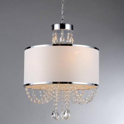 "22"" x 16"" x 56"" 'Hera' Shaded Crystal 4-Light Chandelier Silver/White - Warehouse of Tiffany"