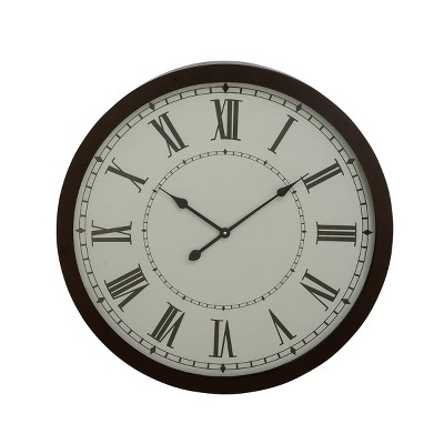 """30"""" Modern Iron and Glass Round Vintage Wall Clock - Olivia & May"""